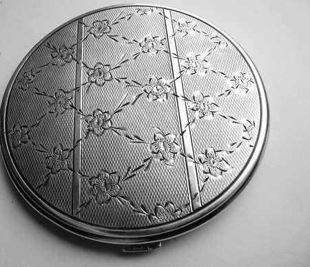 sterling silver european powder compact floral