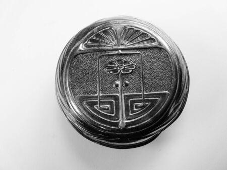 art nouveau french enamel powder compact