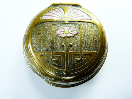 tooled: art nouveau french enamel powder compact