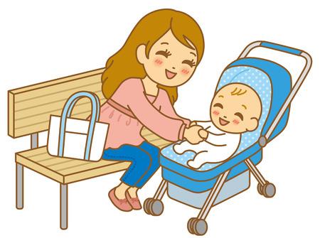 baby stroller: Parent-child baby stroller Stock Photo