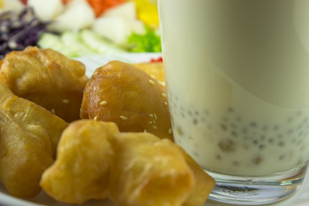 close-up soybean milk and deep-fried dough stick for breakfast