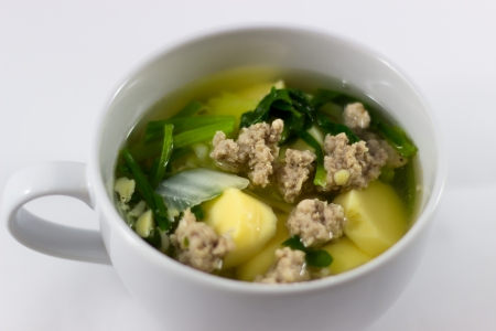 Vegetable soup with minced pork and egg  tofu Stock Photo