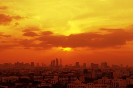 Sunset view terraced house at  city of Bangkok Stock Photo - 16953817