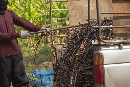 surplus: Thai people pull leftover of iron surplus in pickup truck