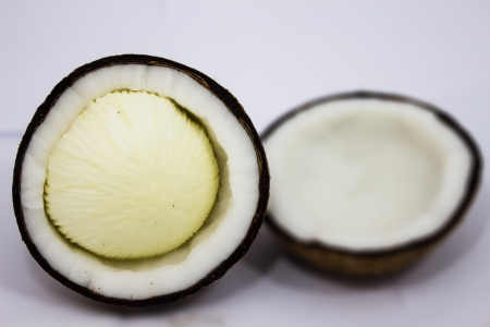 white embryo of coconut Stock Photo