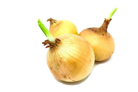 pealing: Fresh onion isolated on white