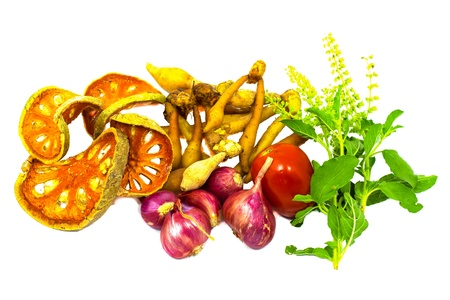 Ingredients for Thai food Includes Fingerroot ,Tomato,Challot,Basil,Dried quince  More fruits and vegetables  photo
