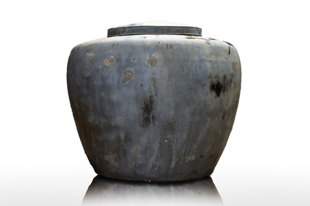 Big earthen water jar , drinking water tank of villager on white background