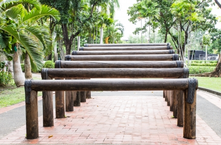Wooden stairs for exercise in garden photo