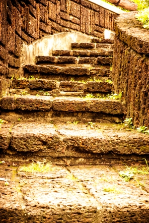 Brown stairway from stone  in garden  photo