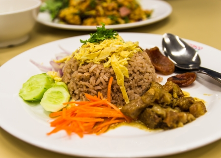 Fry rice with the shrimp paste close up ,Thai food Stock Photo