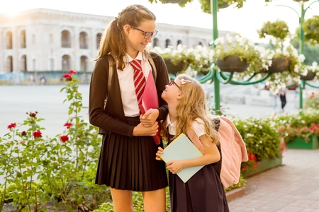 Outdoor portrait of two girls. A high school student and an elementary school student  go to school.