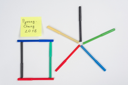Abstract symbol with colored felt-tip pens on a white background Banque d'images