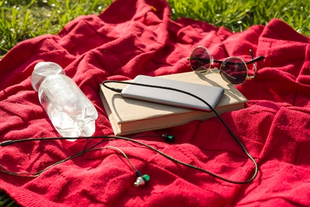Plaid in the park - bottle of water, book, phone with headphones, sunglasses. Relax in the city park Stock Photo