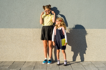 Outdoor portrait of two girls. High school student and an elementary school student near the gray wall of the school.