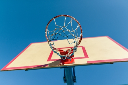 Street basketball, close-up shield and ring for basketball