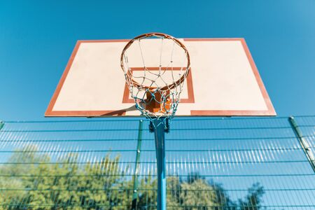 Street basketball, close-up shield and ring for basketball Archivio Fotografico - 134739013