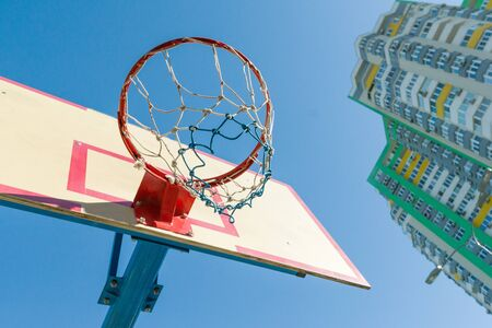 Street basketball, close-up shield and ring for basketball Archivio Fotografico - 134739015