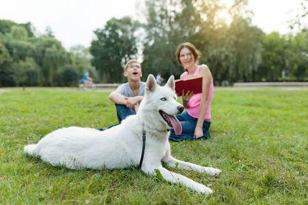 Les enfants se reposent dans le parc avec un chien.
