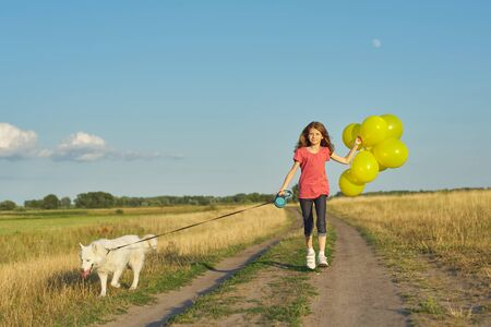 Dynamic outdoor portrait of running girl with white dog and yellow balloons on country road, beautiful landscape with blue sky and yellow grass in meadow