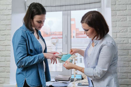 Women designers choosing fabrics and accessories for curtains using house project, palettes with samples