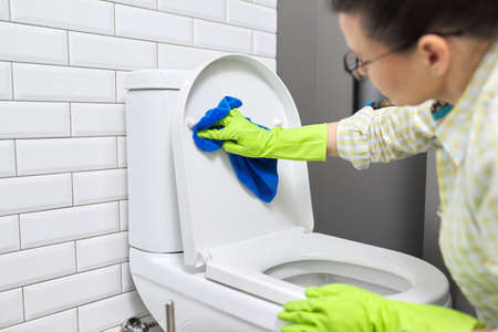 Toilet cleaning, hygiene, cleanliness in the bathroom. Woman washing toilet bowl polishing with microfiber cloth