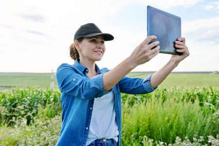 Agriculture farming, woman agronomist farmer working with digital tablet in corn field, analyzes the harvest.