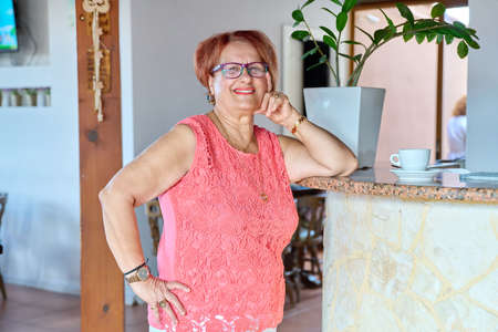 Portrait of senior smiling woman of 70s years old Stock fotó