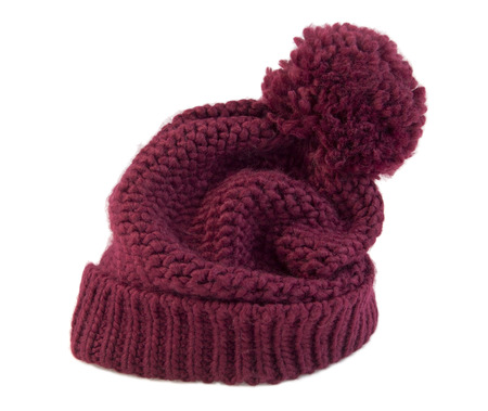 knit cap: Knitted beanie red wool cap. Stock Photo