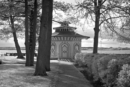 Beautiful pavilion in Asian Style Chinoiserie in Neustrelitz which built in 1821 by the architect Friedrich Wilhelm Buttel. From 1738 until 1918 Neustrelitz what the capital of the Duchy of MecklenburgStrelitz.