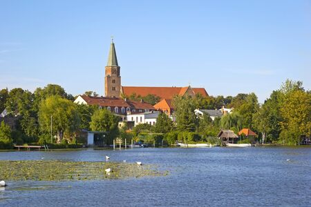 View to the Town Brandenburg an der Havel, with the Cathedral Island Cathedral Iceland. It is the historic heart of the town. Here stands its oldest edifice: the Cathedral of St Peter and Paul Cathedral of Saint Peter and Saint Paul. Although construction Stock Photo