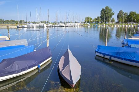 placid: Summer Morning in the little harbor. Many boats are resting on this placid lake, lying on the jetty. Was seen at the Lake Bodensee, Austria. Stock Photo