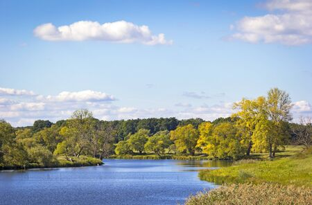 the silence of the world: Landscape in autumn. On the River Havel in the Havelland, Brandenburg Germany.