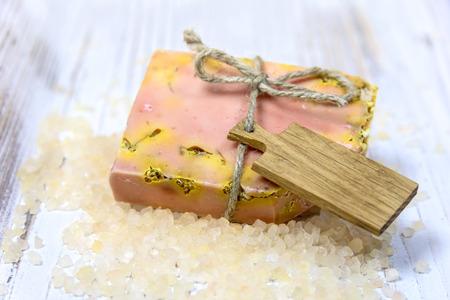 bath salts: Slice of natural handmade soap, made with fresh ingredients, orange, herbs and bath salts.