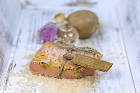 bath salts: Slice of natural handmade soap, made with fresh ingredients, (orange, herbs) and bath salts.