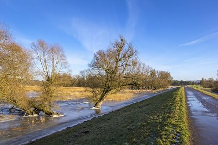 Winter flood at the Oder River in February. The Oder River is a border river between Poland and Germany. This landscape lies in the East of Germany, in Brandenburg. King Frederick the Great initiated the drainage of the Oderbruch. The work which Carried o