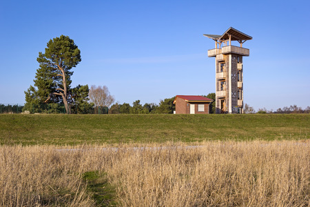 dyke: New observation tower at the dyke near the town Schwedt, Brandenburg; with a panorama view over the Landscape at the border between Germany and Poland, in the National Park Unteres Odertal.