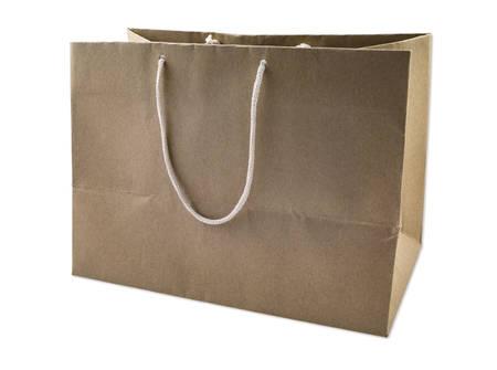 reusable: Brown Reusable Paper Bag, isolated. Stock Photo