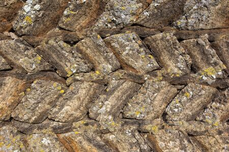 Many walls and houses were made in the past from peat and grass sods. Here you can see a detail of the peat construction. Iceland.