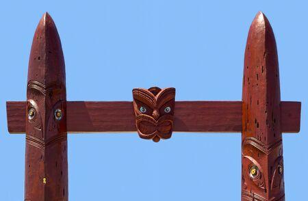 Detail of the Entrance gate to the Waitangi Regional Park, New Zealand. Imagens