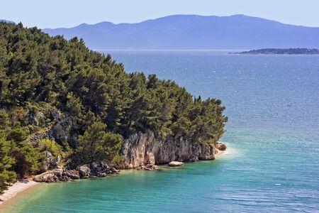 View to the mountain and beach near Split, Adriatic Sea, Croatia.