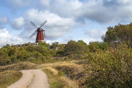 This traditional windmill stands near the Swedish skerry archipelago in the province of Bohuslan.
