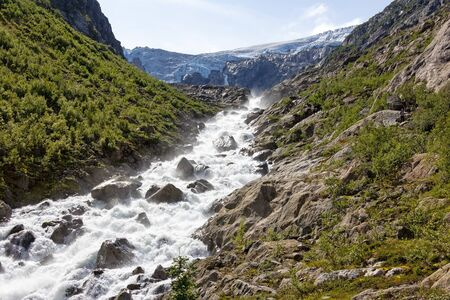 View to the glacier. The glacier Buarbreen in the municipality of Odda in Hordaland county (Norway). Buarbreen is a drainglacier of the large Folgefonna glacier.