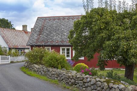 View into a street with small country houses and orchards in front of it like here a big pear tree. Was seen in Sweden.