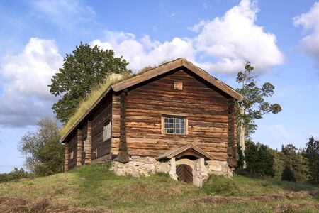 View of a very old log cabin. It stands on a small hill, in the middle of a meadow. You can see a traditional nordic architecture.