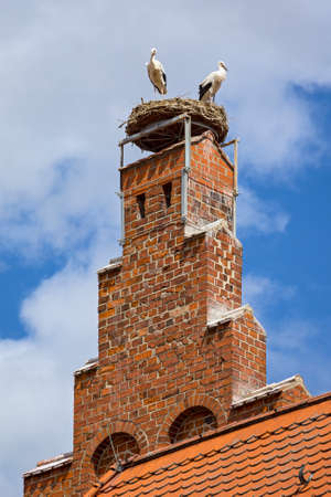 Two storks stand on the top of a red brick tower in the middle of the town of Tangermunde in the Altmark region, Germany.