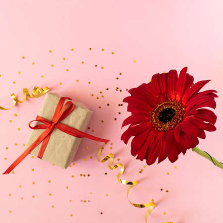 Beautiful red gerbera flower and gift box on pink background. Happy Mother's Day, Women's Day, Valentine's Day or Birthday greeting card. celebration greeting concept, flat lay and copy space