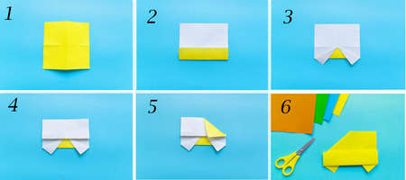 Step by step photo instruction how to make origami paper car. Simple diy with kids children's concept. collage of the steps photo