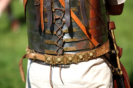 Back view close up of a Roman soldier geared for battle