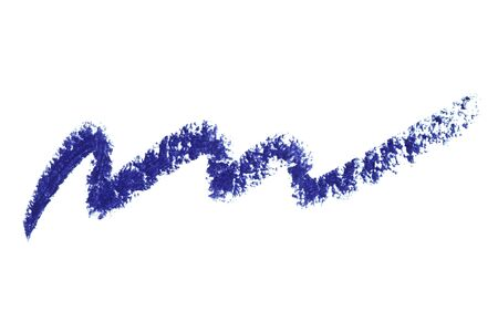 Eyeliner eye contour pencil stroke smear smudge blue color. Eye liner trace stroke isolated on white. Eyeshadow pencil sample wavy shaped. Beauty decorative cosmetic makeup product swatch texture
